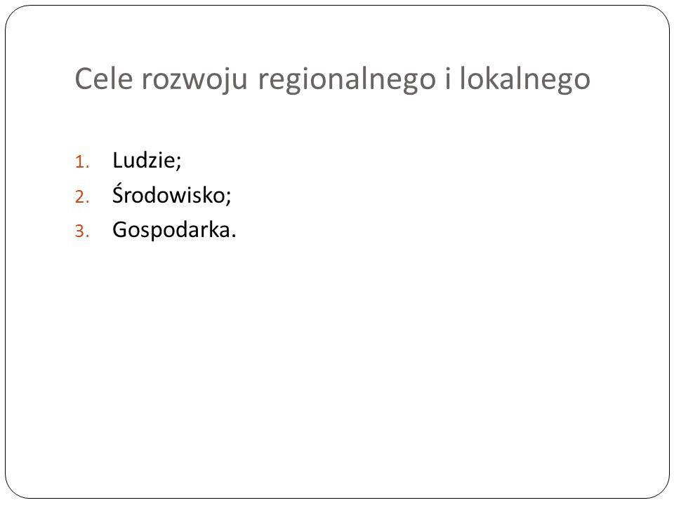 Cele rozwoju regionalnego i lokalnego 1. Ludzie; 2. Środowisko; 3. Gospodarka.