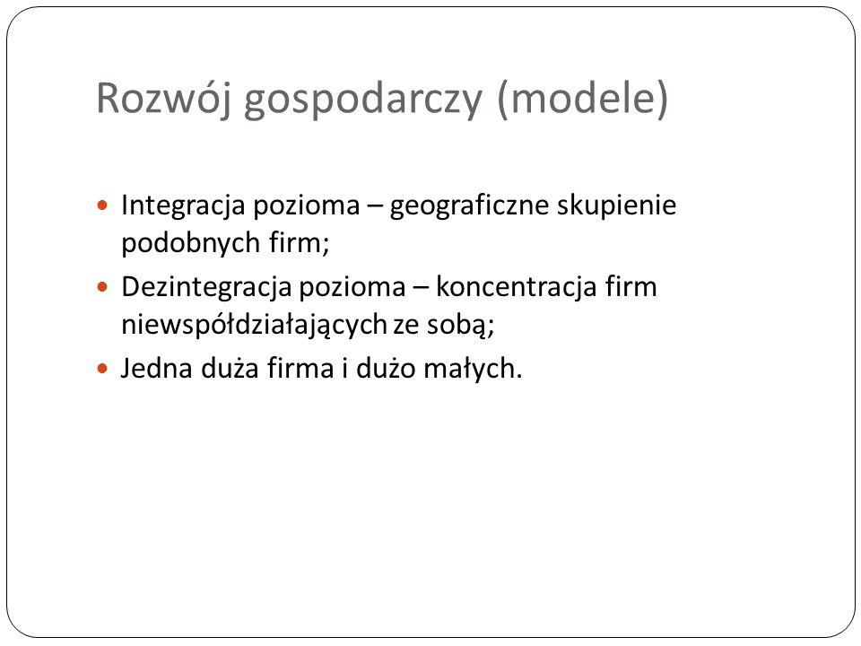 Rozwój gospodarczy (modele) Integracja pozioma – geograficzne skupienie podobnych firm; Dezintegracja pozioma – koncentracja firm niewspółdziałających ze sobą; Jedna duża firma i dużo małych.