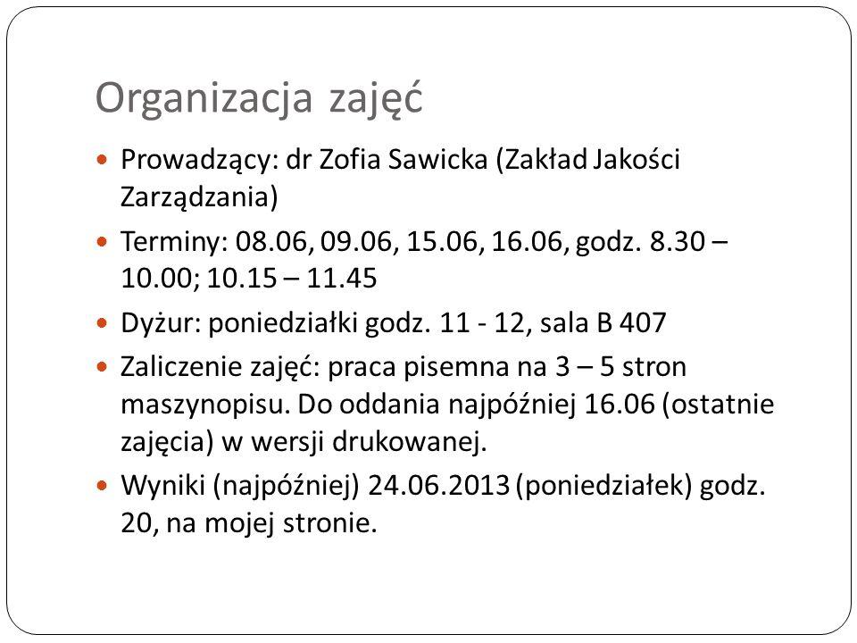 Organizacja zajęć Prowadzący: dr Zofia Sawicka (Zakład Jakości Zarządzania) Terminy: 08.06, 09.06, 15.06, 16.06, godz.