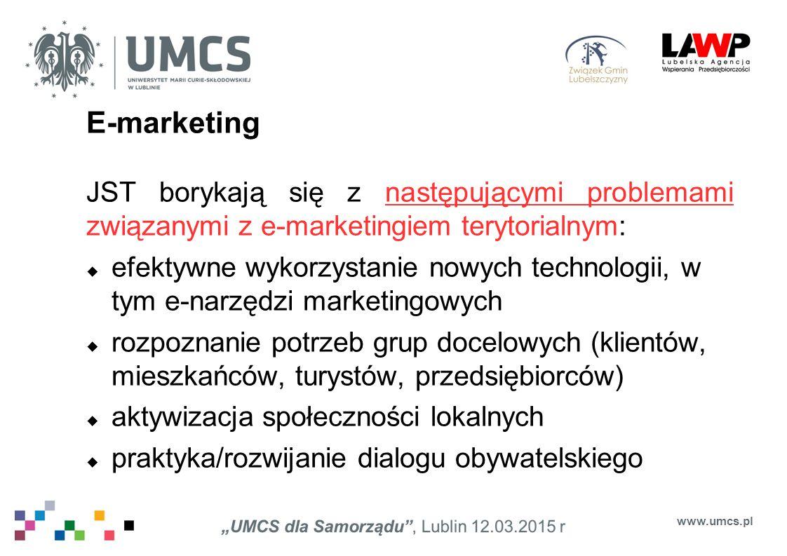 E-marketing JST borykają się z następującymi problemami związanymi z e-marketingiem terytorialnym:  efektywne wykorzystanie nowych technologii, w tym