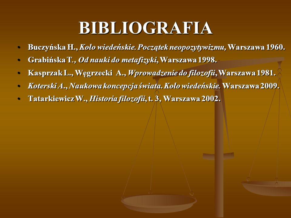 BIBLIOGRAFIA Buczyńska H., Koło wiedeńskie. Początek neopozytywizmu, Warszawa 1960.Buczyńska H., Koło wiedeńskie. Początek neopozytywizmu, Warszawa 19