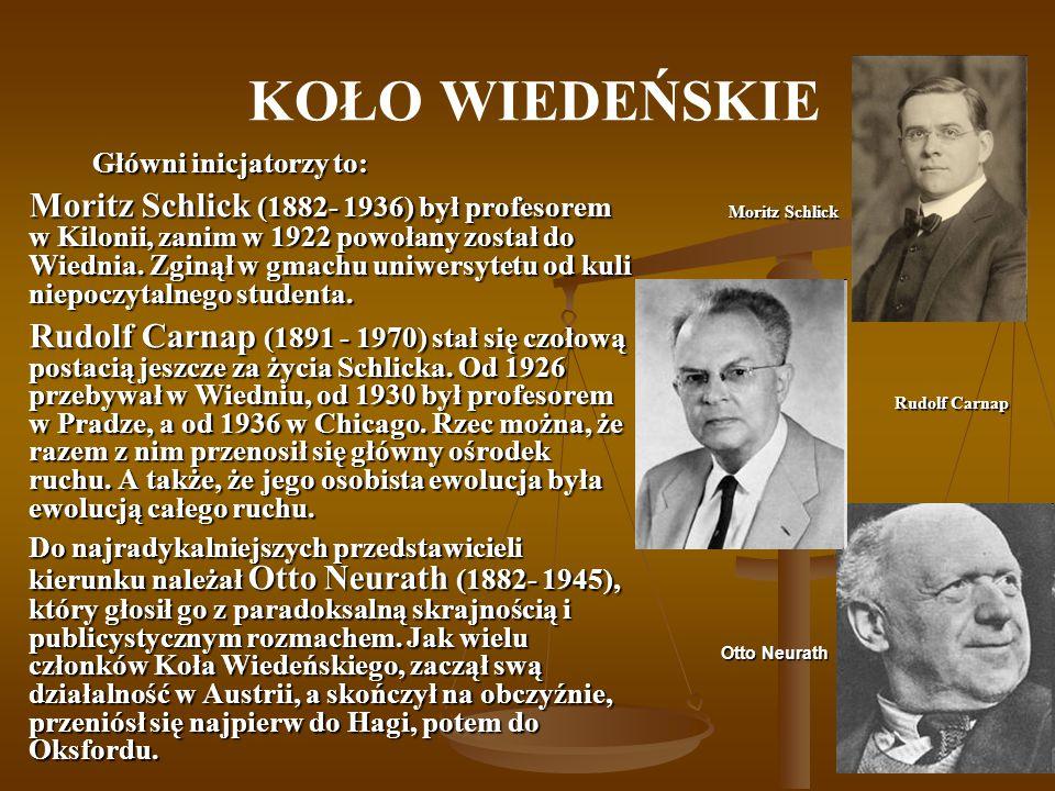 KOŁO WIEDEŃSKIE Główni inicjatorzy to: Moritz Schlick (1882- 1936) był profesorem w Kilonii, zanim w 1922 powołany został do Wiednia. Zginął w gmachu