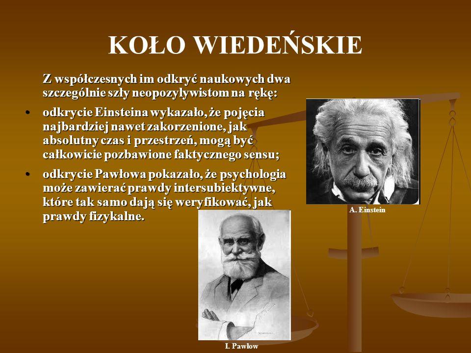 KOŁO WIEDEŃSKIE Z współczesnych im odkryć naukowych dwa szczególnie szły neopozylywistom na rękę: odkrycie Einsteina wykazało, że pojęcia najbardziej