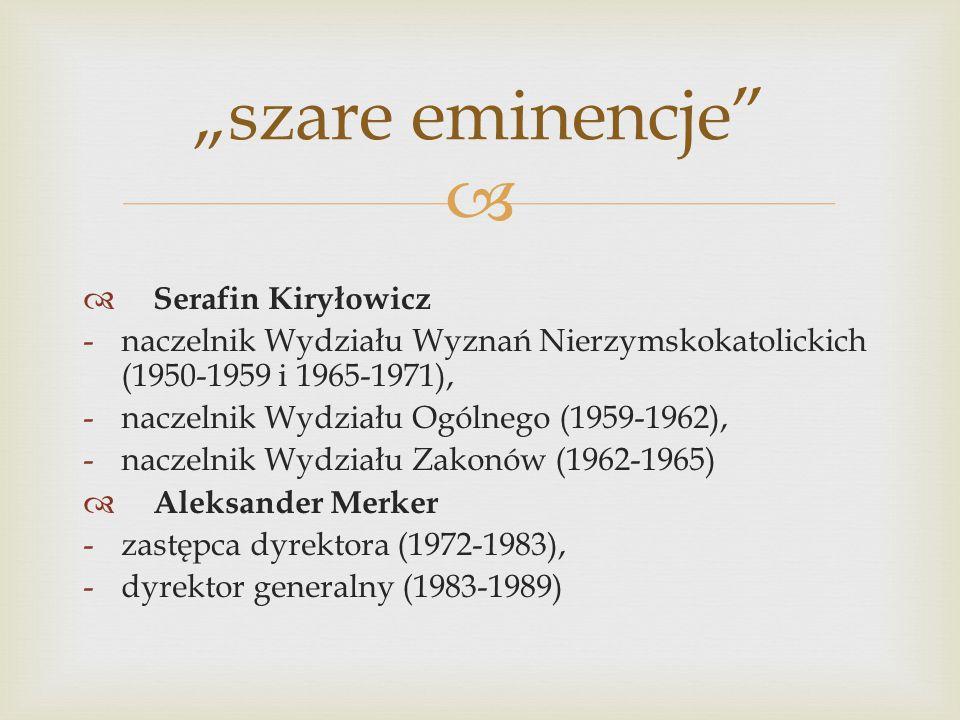   Serafin Kiryłowicz -naczelnik Wydziału Wyznań Nierzymskokatolickich (1950-1959 i 1965-1971), -naczelnik Wydziału Ogólnego (1959-1962), -naczelnik