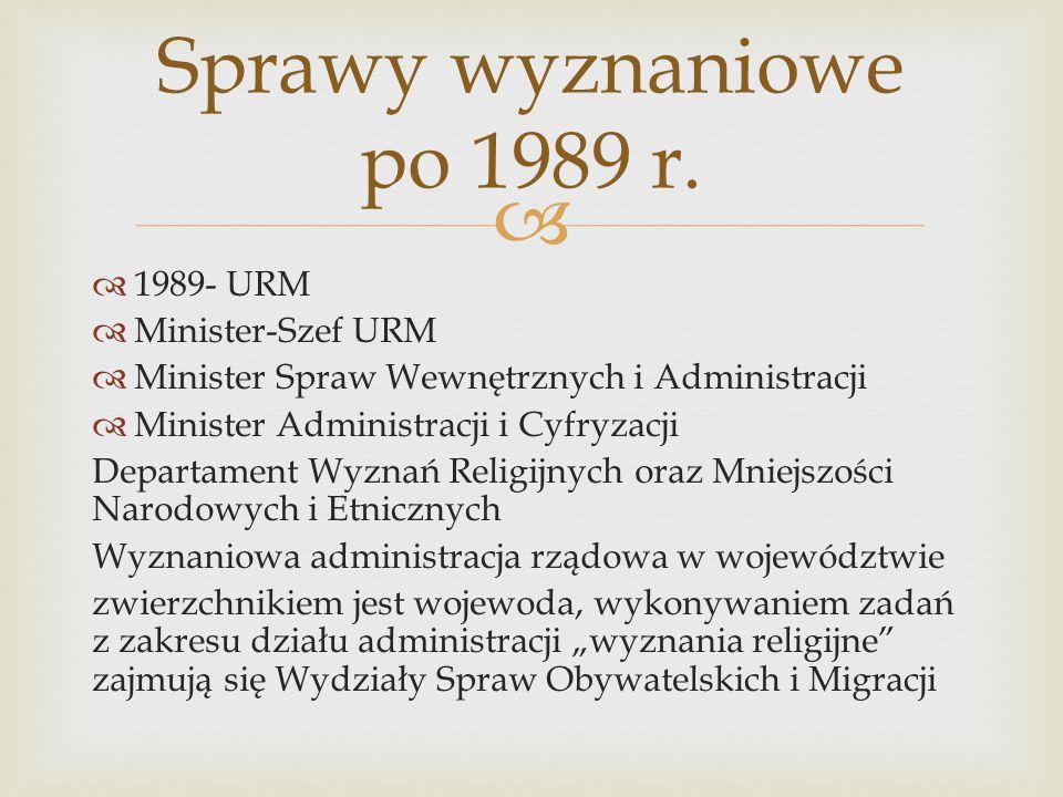   1989- URM  Minister-Szef URM  Minister Spraw Wewnętrznych i Administracji  Minister Administracji i Cyfryzacji Departament Wyznań Religijnych o