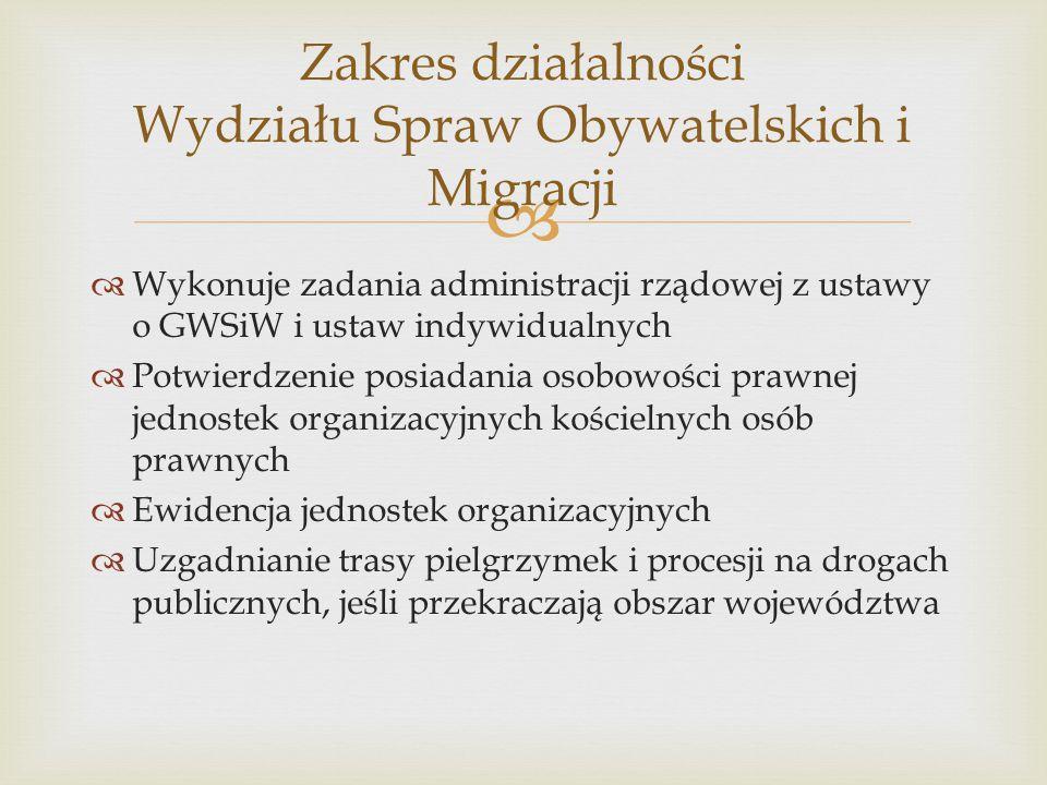   Wykonuje zadania administracji rządowej z ustawy o GWSiW i ustaw indywidualnych  Potwierdzenie posiadania osobowości prawnej jednostek organizacy