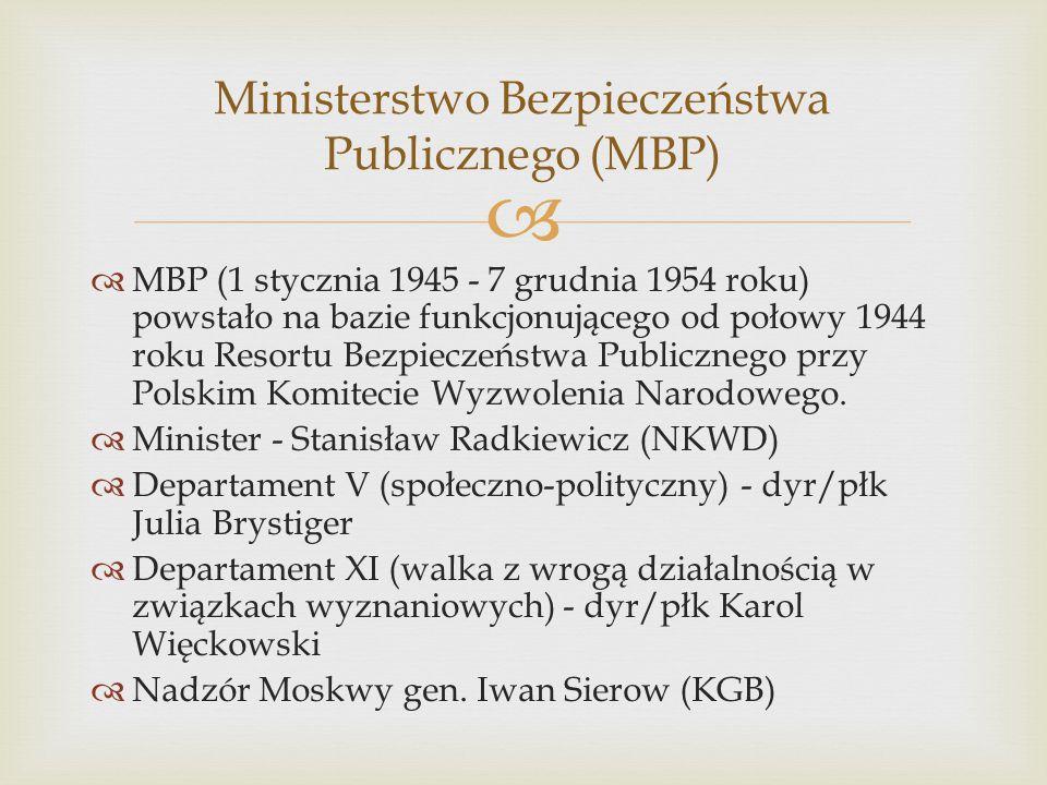   MBP (1 stycznia 1945 - 7 grudnia 1954 roku) powstało na bazie funkcjonującego od połowy 1944 roku Resortu Bezpieczeństwa Publicznego przy Polskim