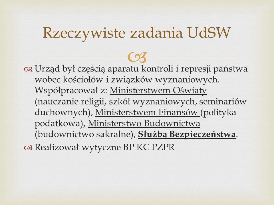   Urząd był częścią aparatu kontroli i represji państwa wobec kościołów i związków wyznaniowych. Współpracował z: Ministerstwem Oświaty (nauczanie r