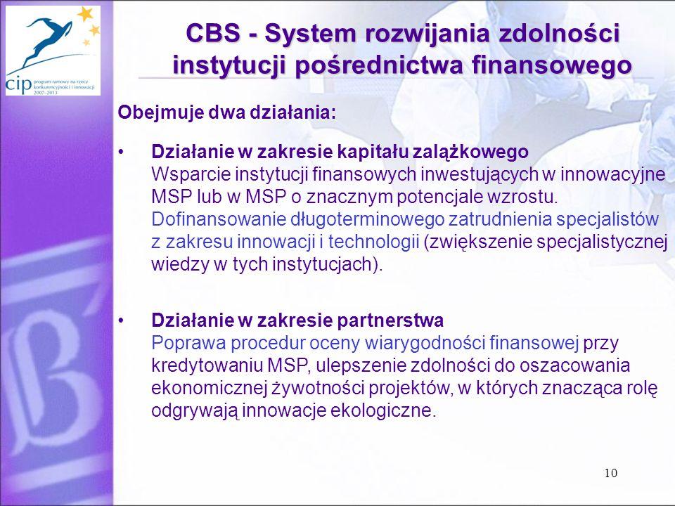 10 CBS - System rozwijania zdolności instytucji pośrednictwa finansowego Obejmuje dwa działania: Działanie w zakresie kapitału zalążkowego Wsparcie instytucji finansowych inwestujących w innowacyjne MSP lub w MSP o znacznym potencjale wzrostu.