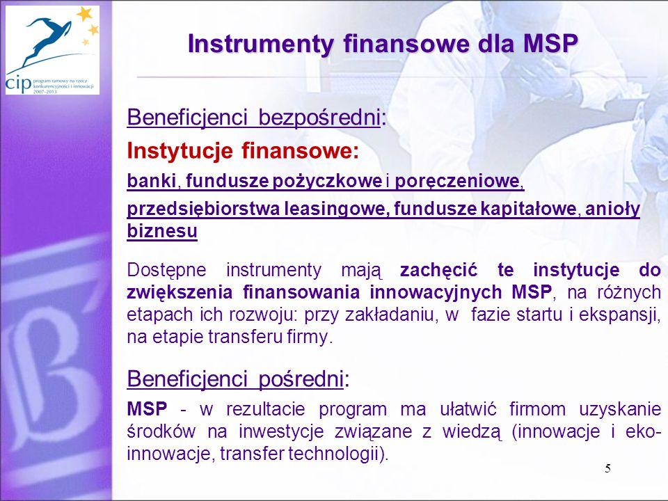 5 Instrumenty finansowe dla MSP Beneficjenci bezpośredni: Instytucje finansowe: banki, fundusze pożyczkowe i poręczeniowe, przedsiębiorstwa leasingowe, fundusze kapitałowe, anioły biznesu Dostępne instrumenty mają zachęcić te instytucje do zwiększenia finansowania innowacyjnych MSP, na różnych etapach ich rozwoju: przy zakładaniu, w fazie startu i ekspansji, na etapie transferu firmy.