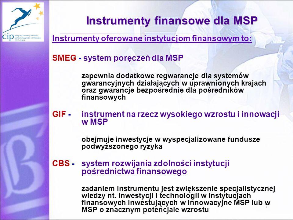 7 Instrumenty finansowe dla MSP Instrumenty oferowane instytucjom finansowym to: SMEG - system poręczeń dla MSP zapewnia dodatkowe regwarancje dla systemów gwarancyjnych działających w uprawnionych krajach oraz gwarancje bezpośrednie dla pośredników finansowych GIF - instrument na rzecz wysokiego wzrostu i innowacji w MSP obejmuje inwestycje w wyspecjalizowane fundusze podwyższonego ryzyka CBS - system rozwijania zdolności instytucji pośrednictwa finansowego zadaniem instrumentu jest zwiększenie specjalistycznej wiedzy nt.