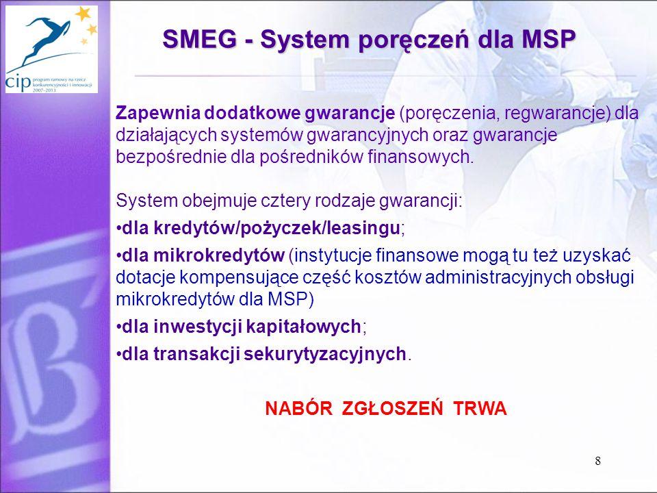 8 SMEG - System poręczeń dla MSP Zapewnia dodatkowe gwarancje (poręczenia, regwarancje) dla działających systemów gwarancyjnych oraz gwarancje bezpośrednie dla pośredników finansowych.