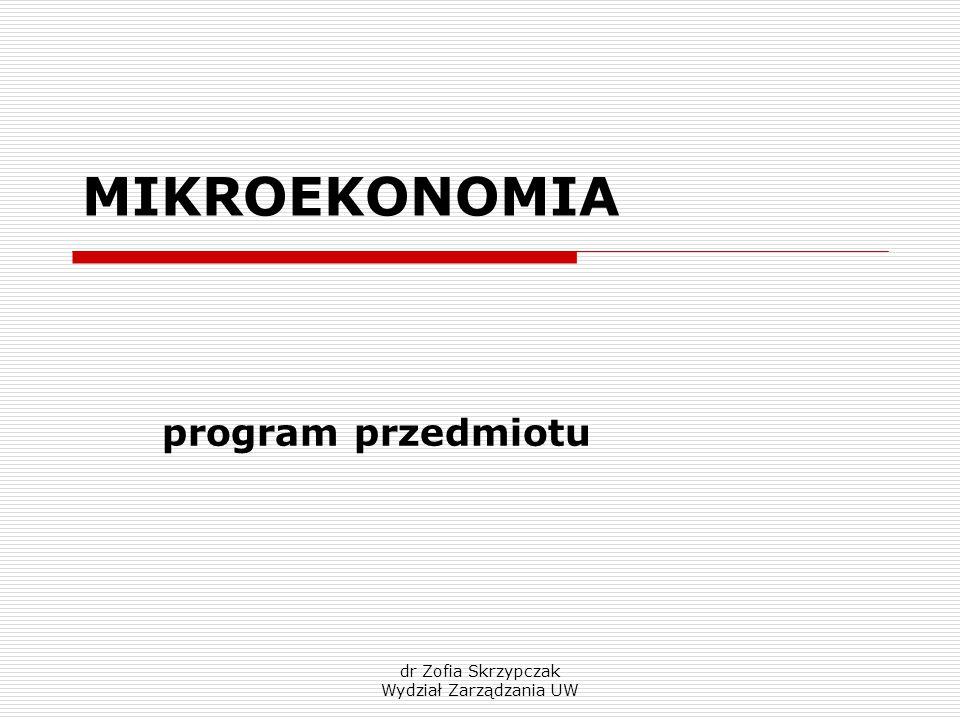 dr Zofia Skrzypczak Wydział Zarządzania UW MIKROEKONOMIA program przedmiotu