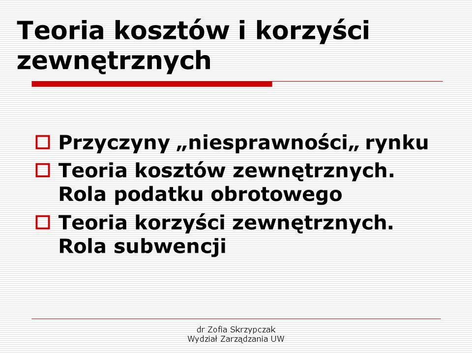 """dr Zofia Skrzypczak Wydział Zarządzania UW Teoria kosztów i korzyści zewnętrznych  Przyczyny """"niesprawności"""" rynku  Teoria kosztów zewnętrznych. Rol"""