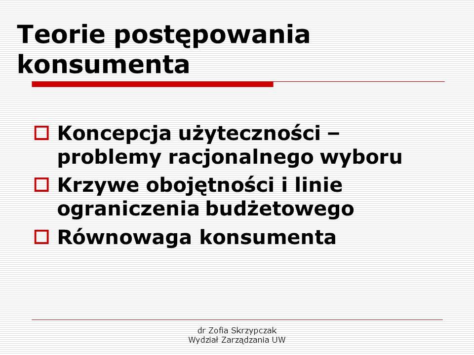 dr Zofia Skrzypczak Wydział Zarządzania UW Teorie postępowania konsumenta  Koncepcja użyteczności – problemy racjonalnego wyboru  Krzywe obojętności