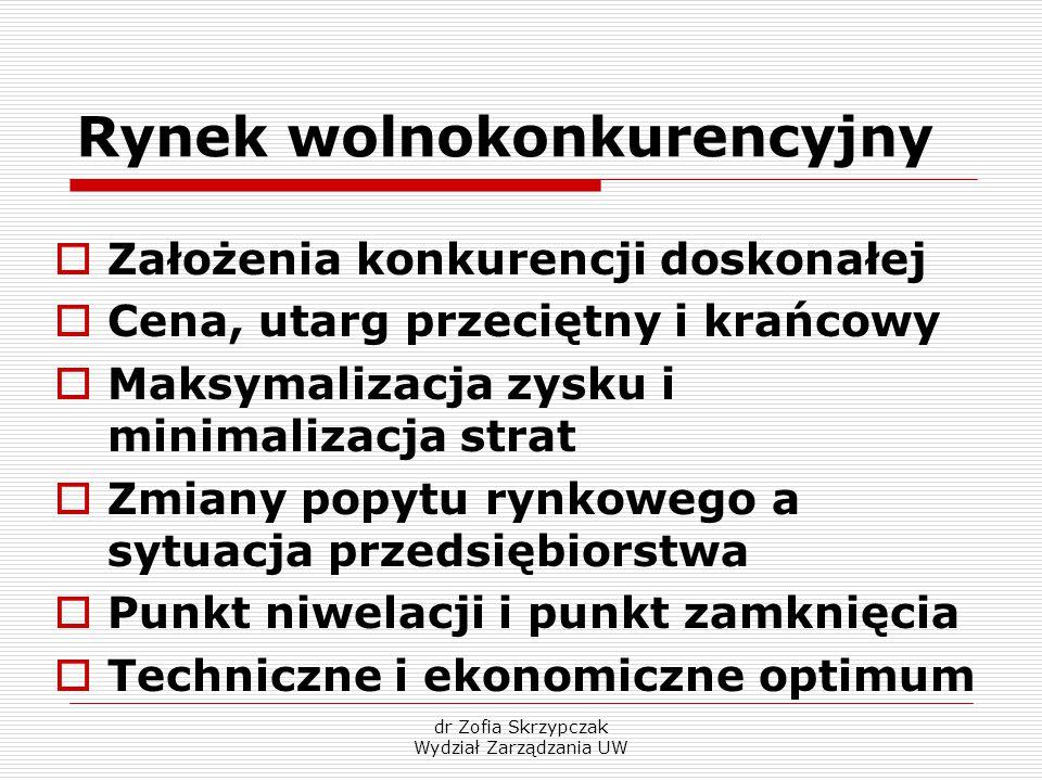 dr Zofia Skrzypczak Wydział Zarządzania UW Rynek wolnokonkurencyjny  Założenia konkurencji doskonałej  Cena, utarg przeciętny i krańcowy  Maksymali