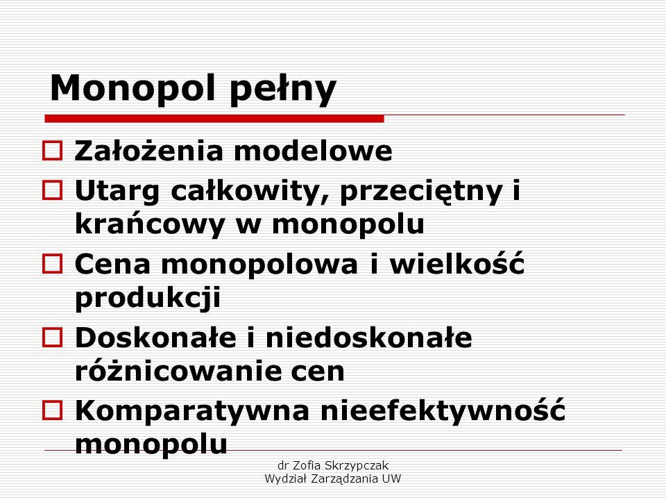 dr Zofia Skrzypczak Wydział Zarządzania UW Monopol pełny  Założenia modelowe  Utarg całkowity, przeciętny i krańcowy w monopolu  Cena monopolowa i