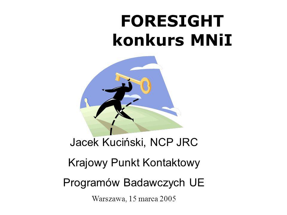 FORESIGHT konkurs MNiI Jacek Kuciński, NCP JRC Krajowy Punkt Kontaktowy Programów Badawczych UE Warszawa, 15 marca 2005