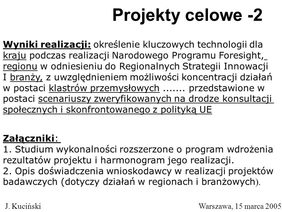 Projekty celowe -2 J. Kuciński Warszawa, 15 marca 2005 Załączniki: 1.