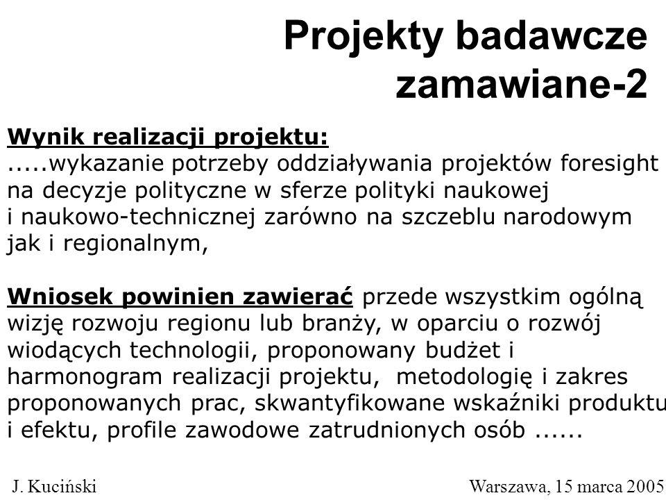 J. Kuciński Warszawa, 15 marca 2005 Wynik realizacji projektu:.....wykazanie potrzeby oddziaływania projektów foresight na decyzje polityczne w sferze