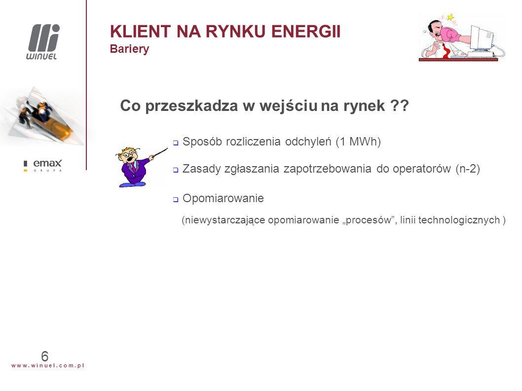 w w w. w i n u e l. c o m. p l 6 KLIENT NA RYNKU ENERGII Bariery Co przeszkadza w wejściu na rynek ??  Sposób rozliczenia odchyleń (1 MWh)  Zasady z