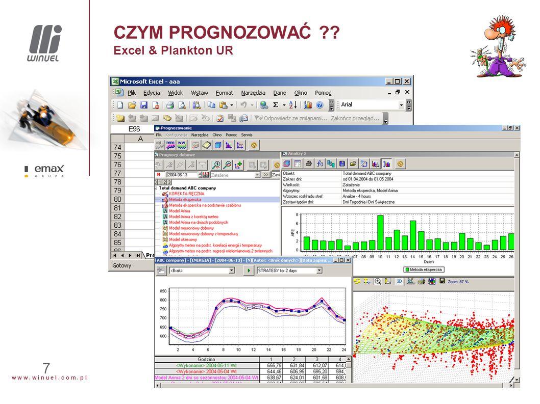 w w w. w i n u e l. c o m. p l 7 CZYM PROGNOZOWAĆ ?? Excel & Plankton UR