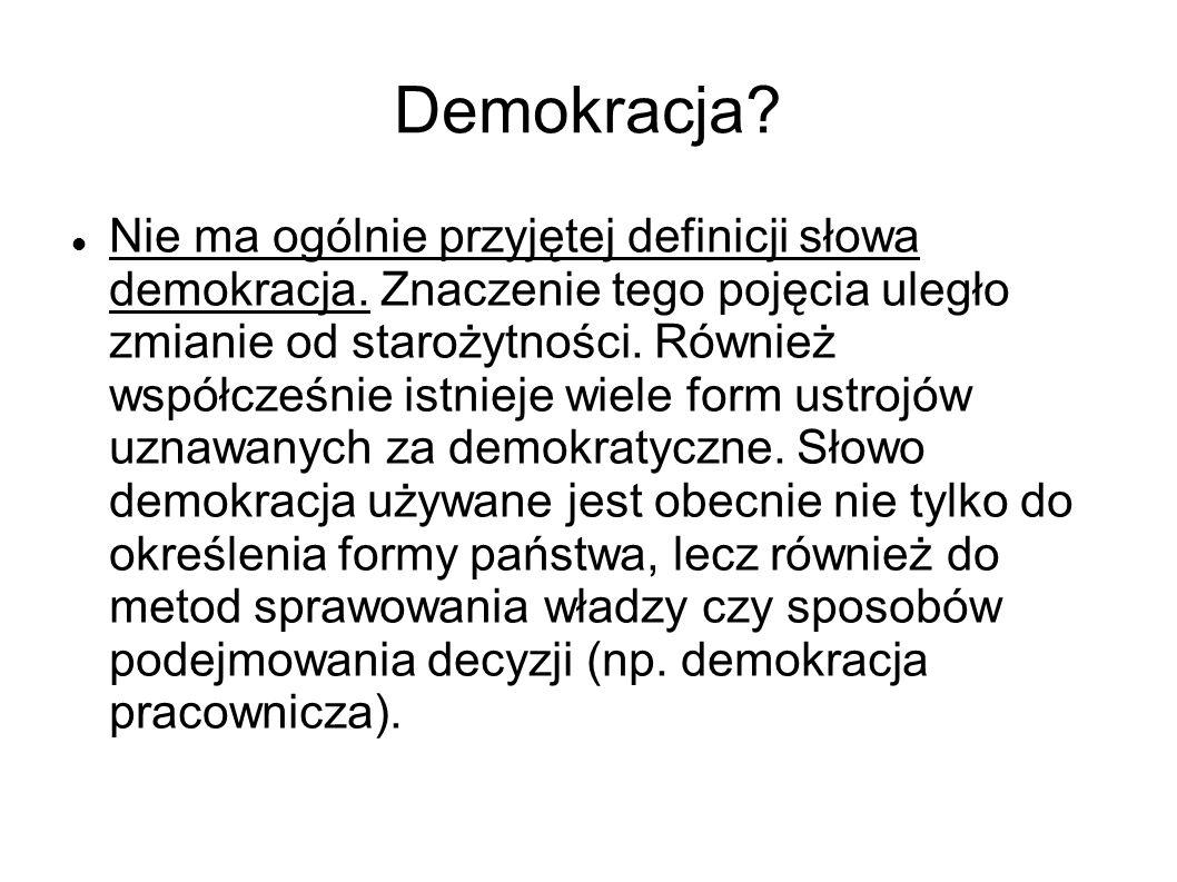 Demokracja. Nie ma ogólnie przyjętej definicji słowa demokracja.