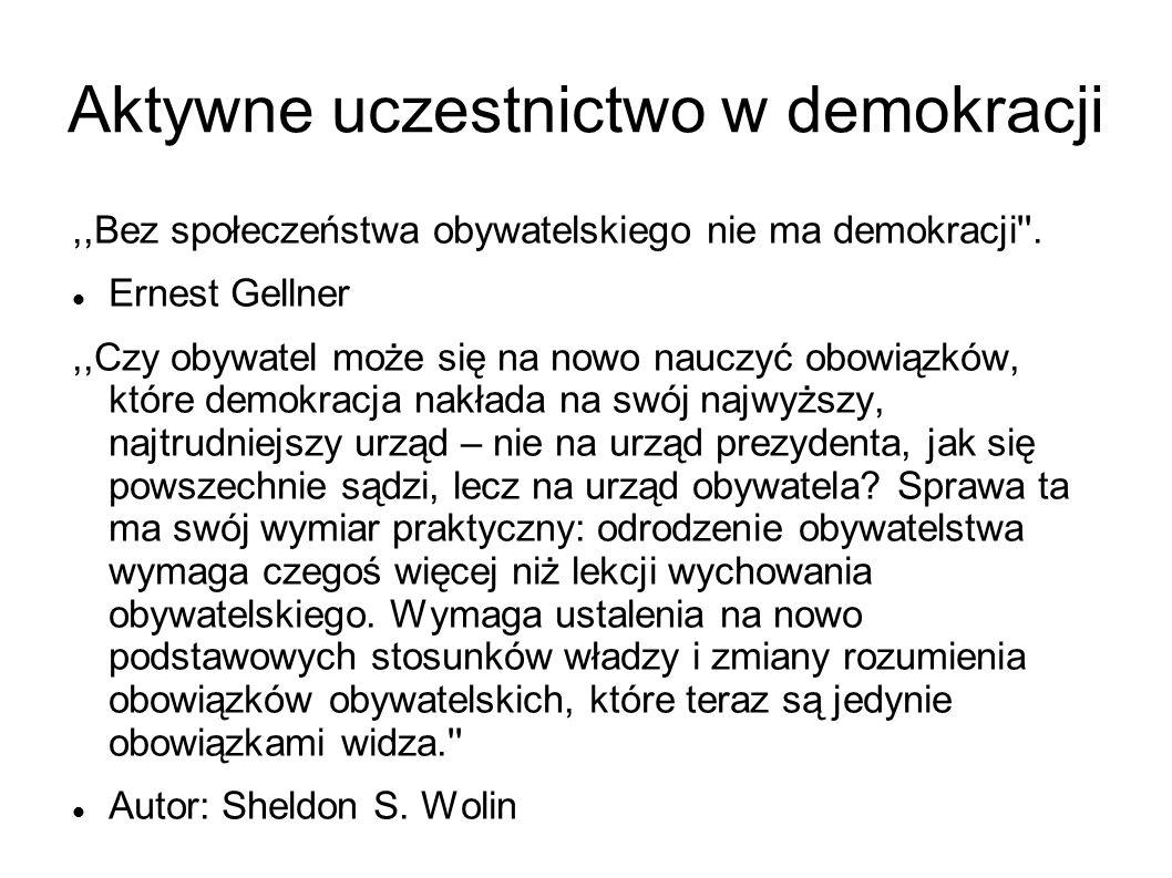 Aktywne uczestnictwo w demokracji,,Bez społeczeństwa obywatelskiego nie ma demokracji .