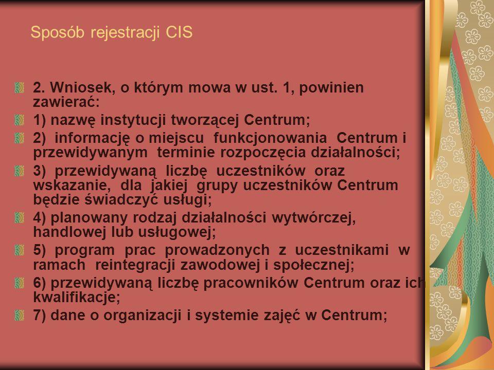 Sposób rejestracji CIS 2. Wniosek, o którym mowa w ust. 1, powinien zawierać: 1) nazwę instytucji tworzącej Centrum; 2) informację o miejscu funkcjono