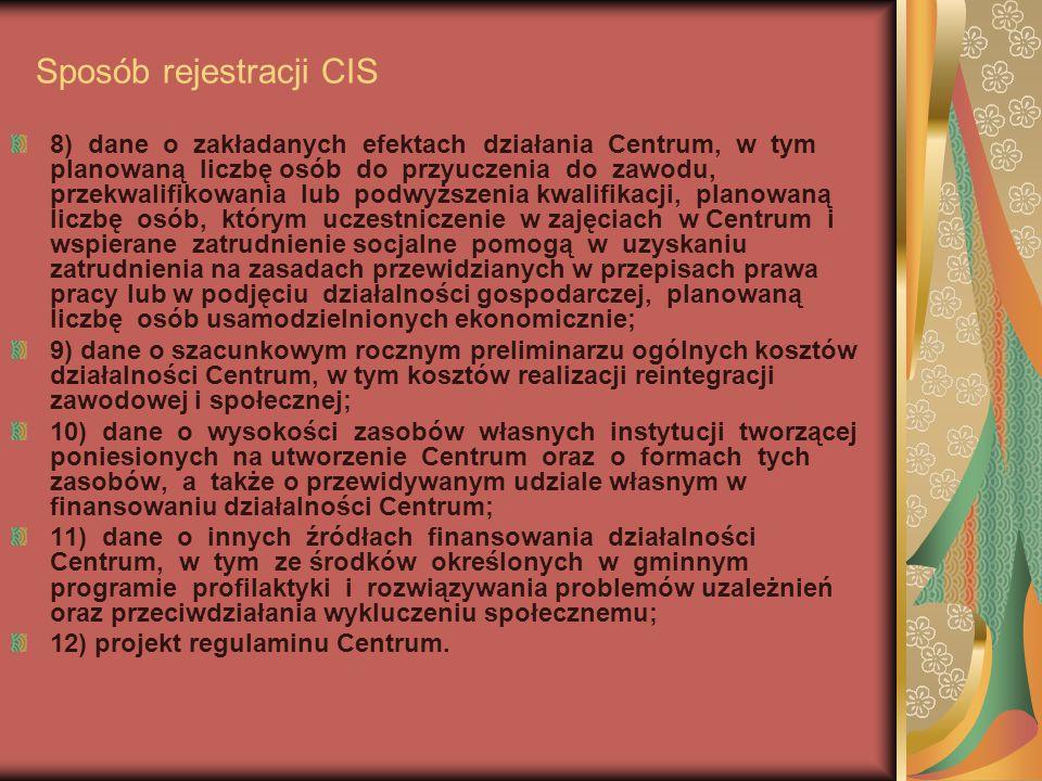 """Sposób rejestracji CIS przykładowy wniosek samorządu X Samorząd X złożył do właściwego Wojewody wniosek o rejestracje CIS który zawiera: nazwę instytucji tworzącej Centrum – w wypadku samorządu X zadanie będzie realizował miejscowy MOPS informację o miejscu funkcjonowania Centrum i przewidywanym terminie rozpoczęcia działalności; Samorząd X załączył dokument pt """"Opis pomieszczeń w CIS na ul …w miejscowości X oraz Zarządzenie Prezydenta Miasta X w sprawie utworzenia CIS w miejscowości X w formie gospodarstwa pomocniczego MOPS na podstawie art."""