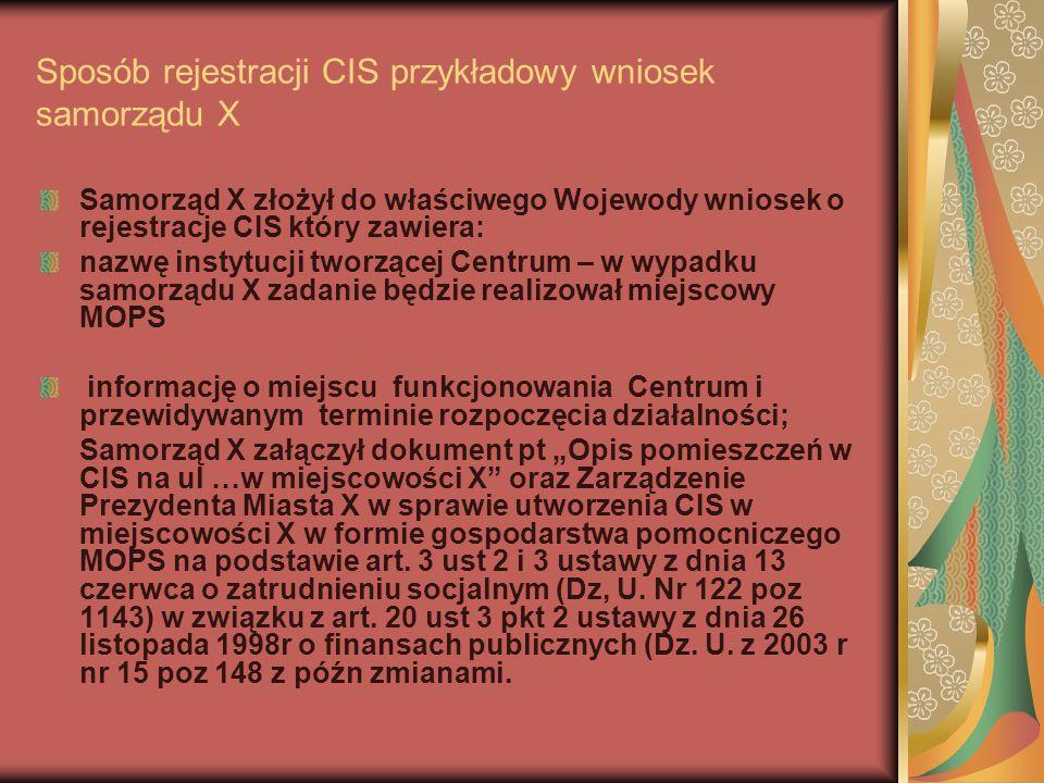 Sposób rejestracji CIS przykładowy wniosek samorządu X Samorząd X złożył do właściwego Wojewody wniosek o rejestracje CIS który zawiera: nazwę instytu