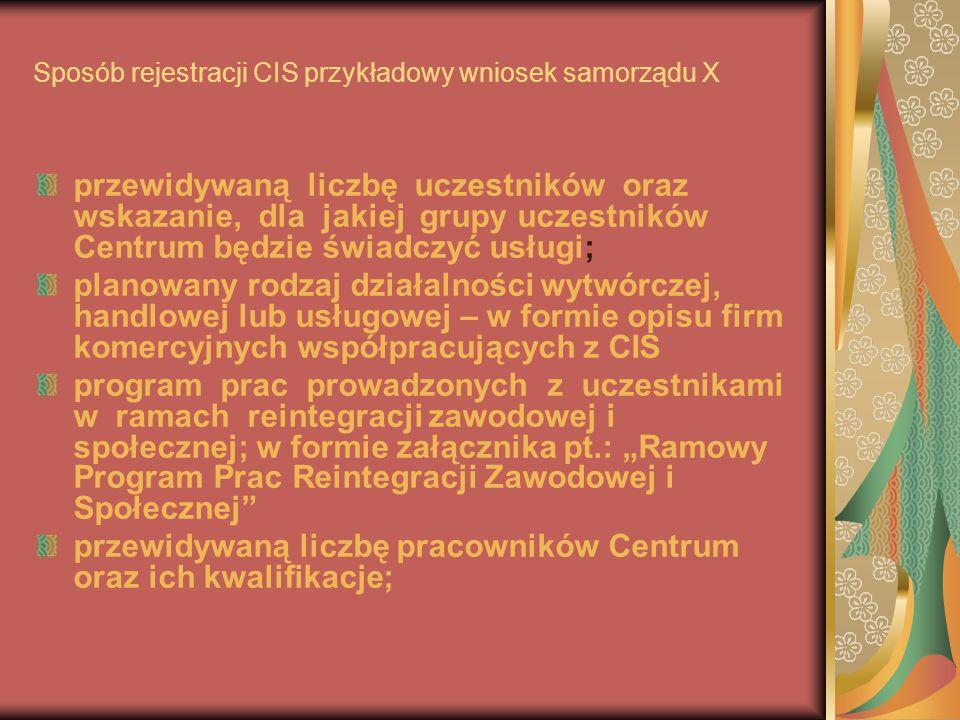 Sposób rejestracji CIS przykładowy wniosek samorządu X przewidywaną liczbę uczestników oraz wskazanie, dla jakiej grupy uczestników Centrum będzie świ