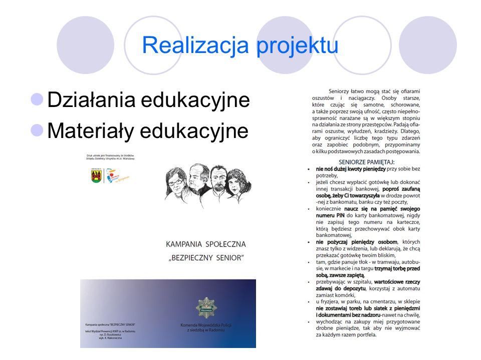 Realizacja projektu Działania edukacyjne Materiały edukacyjne