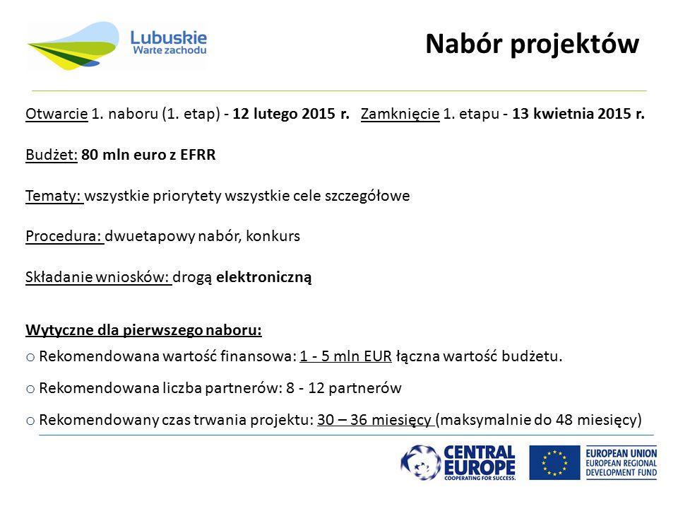 Nabór projektów Wytyczne dla pierwszego naboru: o Rekomendowana wartość finansowa: 1 - 5 mln EUR łączna wartość budżetu. o Rekomendowana liczba partne