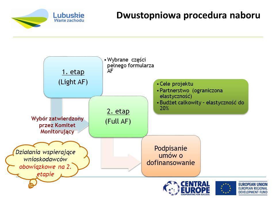 Dwustopniowa procedura naboru 1. etap (Light AF) Wybrane części pełnego formularza AF 2. etap (Full AF) Cele projektu Partnerstwo (ograniczona elastyc