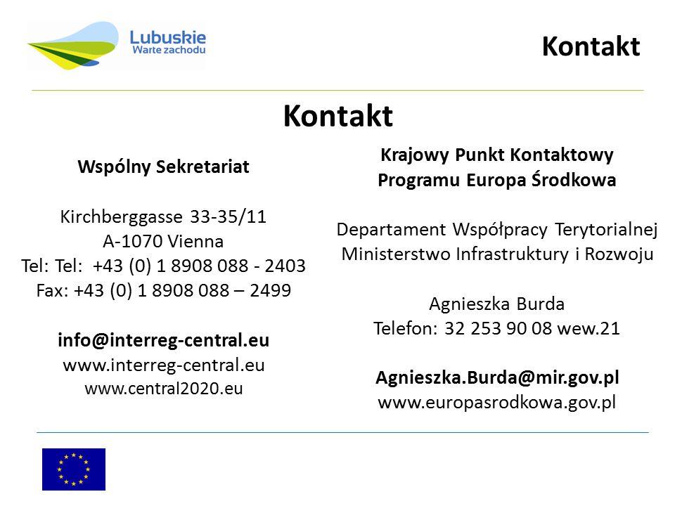 Kontakt Wspólny Sekretariat Kirchberggasse 33-35/11 A-1070 Vienna Tel: Tel: +43 (0) 1 8908 088 - 2403 Fax: +43 (0) 1 8908 088 – 2499 info@interreg-cen