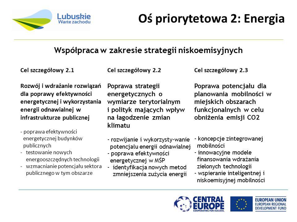 Oś priorytetowa 2: Energia Cel szczegółowy 2.1 Rozwój i wdrażanie rozwiązań dla poprawy efektywności energetycznej i wykorzystania energii odnawialnej