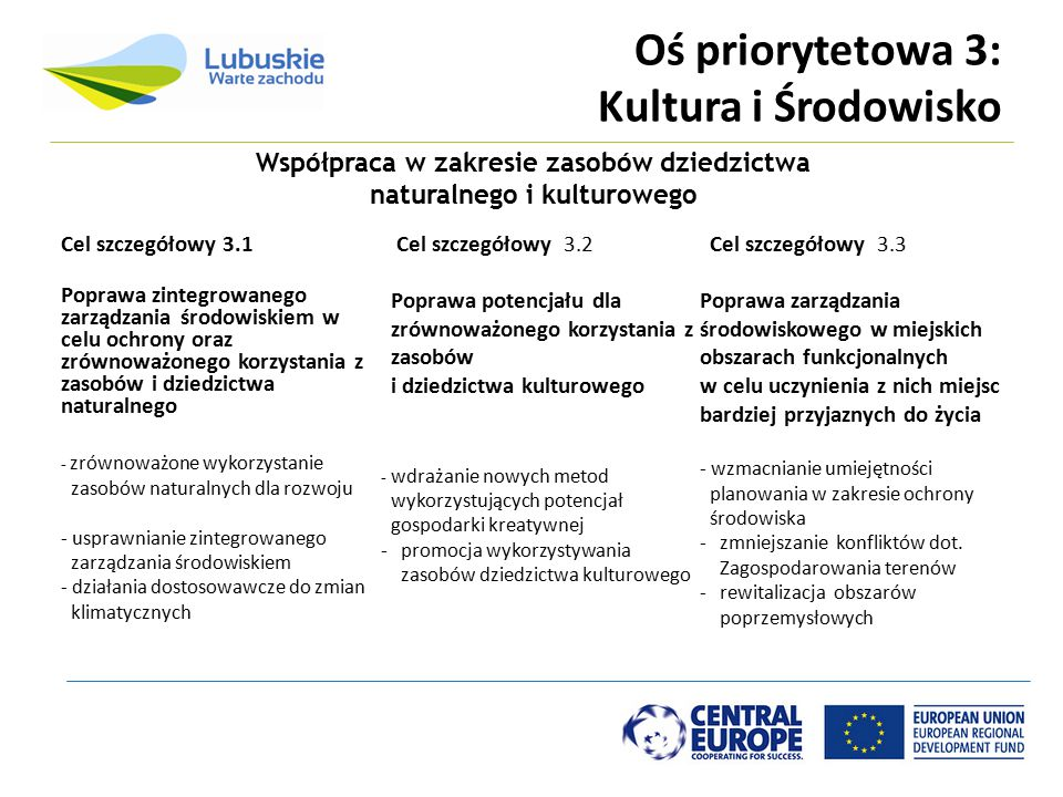 Oś priorytetowa 3: Kultura i Środowisko Cel szczegółowy 3.1 Poprawa zintegrowanego zarządzania środowiskiem w celu ochrony oraz zrównoważonego korzyst