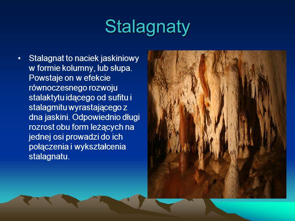 Stalagnaty Stalagnat to naciek jaskiniowy w formie kolumny, lub słupa.