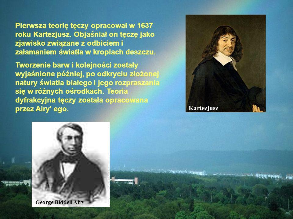 Pierwsza teorię tęczy opracował w 1637 roku Kartezjusz. Objaśniał on tęczę jako zjawisko związane z odbiciem i załamaniem światła w kroplach deszczu.