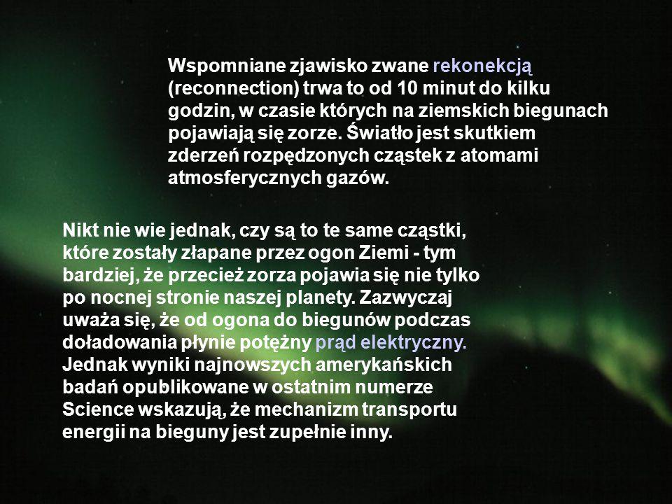Wspomniane zjawisko zwane rekonekcją (reconnection) trwa to od 10 minut do kilku godzin, w czasie których na ziemskich biegunach pojawiają się zorze.