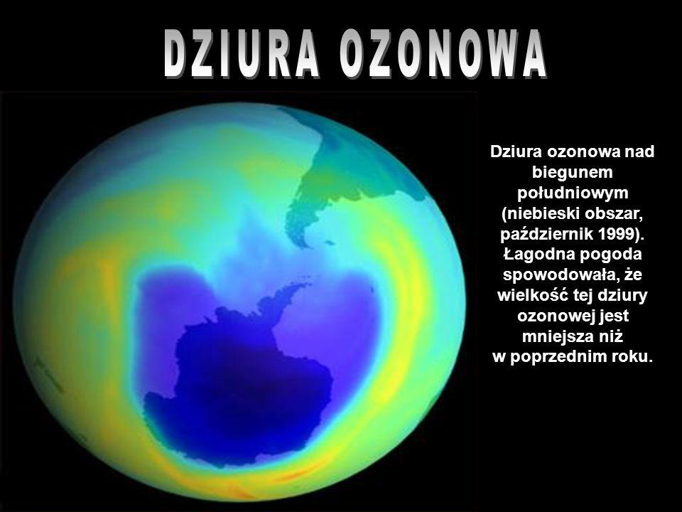 Dziura ozonowa nad biegunem południowym (niebieski obszar, październik 1999). Łagodna pogoda spowodowała, że wielkość tej dziury ozonowej jest mniejsz