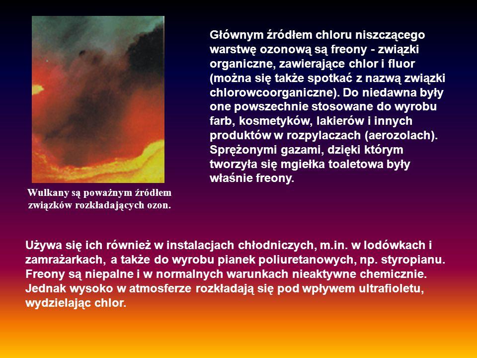 Wulkany są poważnym źródłem związków rozkładających ozon. Używa się ich również w instalacjach chłodniczych, m.in. w lodówkach i zamrażarkach, a także