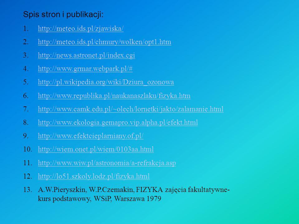 Spis stron i publikacji: 1.http://meteo.ids.pl/zjawiska/http://meteo.ids.pl/zjawiska/ 2.http://meteo.ids.pl/chmury/wolken/opt1.htmhttp://meteo.ids.pl/