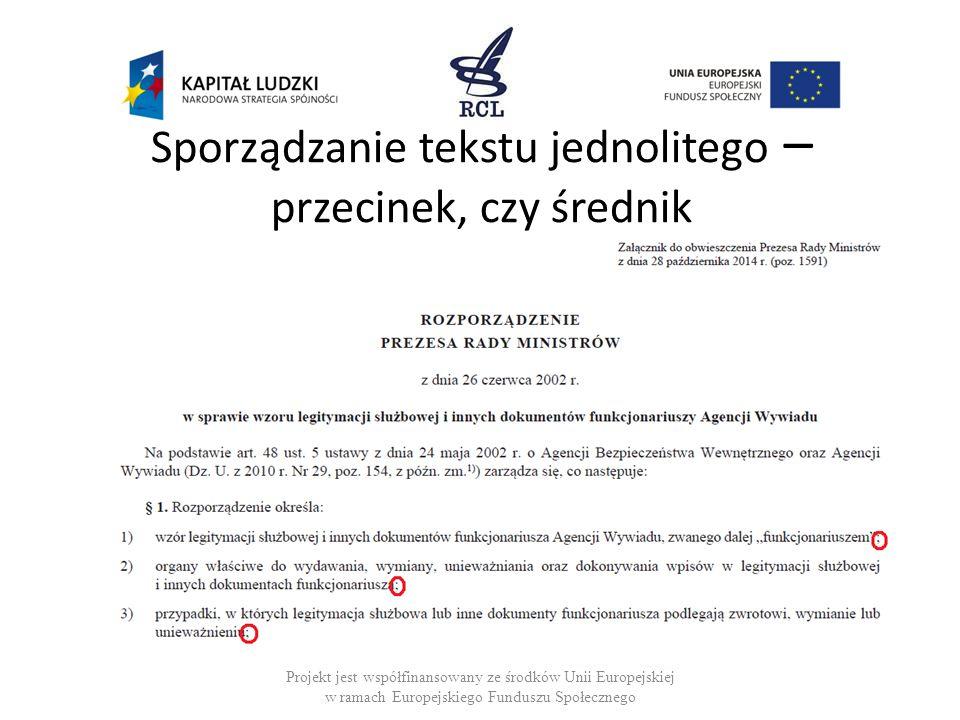 Sporządzanie tekstu jednolitego – przecinek, czy średnik Projekt jest współfinansowany ze środków Unii Europejskiej w ramach Europejskiego Funduszu Sp