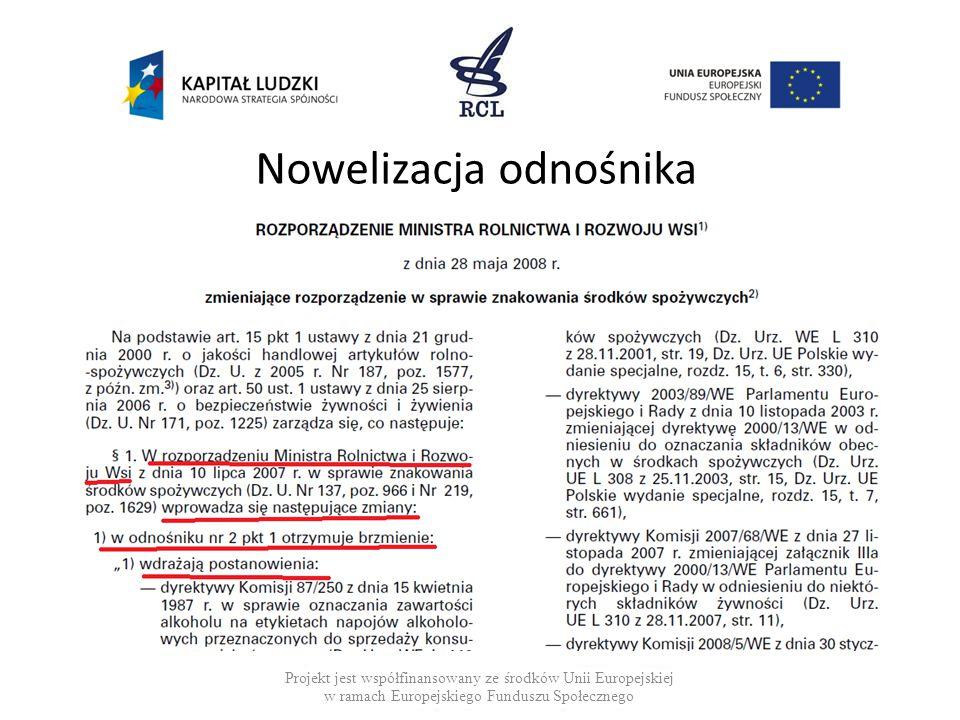 Nowelizacja odnośnika Projekt jest współfinansowany ze środków Unii Europejskiej w ramach Europejskiego Funduszu Społecznego