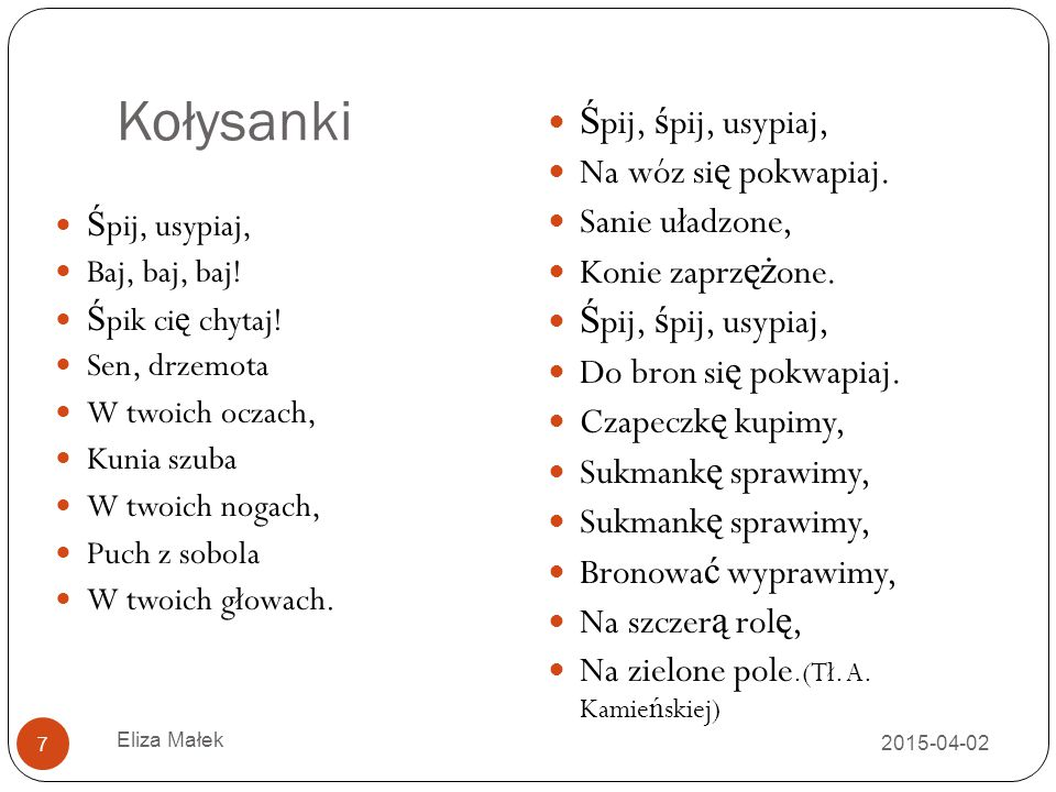 Ulubione środki artystyczne 2015-04-02 Eliza Małek 8 Aliteracja (np.