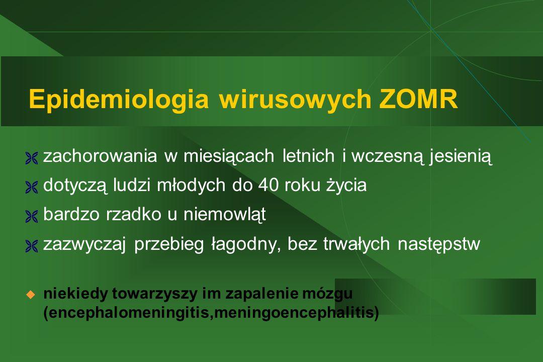 Epidemiologia wirusowych ZOMR  zachorowania w miesiącach letnich i wczesną jesienią  dotyczą ludzi młodych do 40 roku życia  bardzo rzadko u niemowląt  zazwyczaj przebieg łagodny, bez trwałych następstw  niekiedy towarzyszy im zapalenie mózgu (encephalomeningitis,meningoencephalitis)