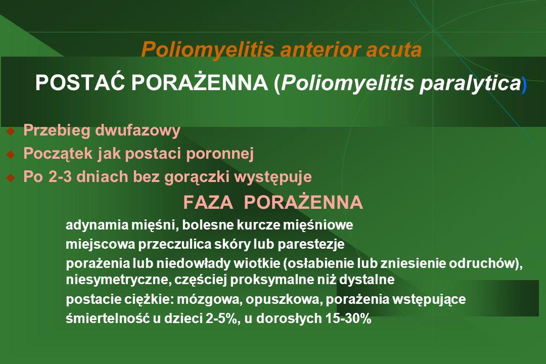 Poliomyelitis anterior acuta POSTAĆ PORAŻENNA (Poliomyelitis paralytica )  Przebieg dwufazowy  Początek jak postaci poronnej  Po 2-3 dniach bez gorączki występuje FAZA PORAŻENNA  adynamia mięśni, bolesne kurcze mięśniowe  miejscowa przeczulica skóry lub parestezje  porażenia lub niedowłady wiotkie (osłabienie lub zniesienie odruchów), niesymetryczne, częściej proksymalne niż dystalne  postacie ciężkie: mózgowa, opuszkowa, porażenia wstępujące  śmiertelność u dzieci 2-5%, u dorosłych 15-30%