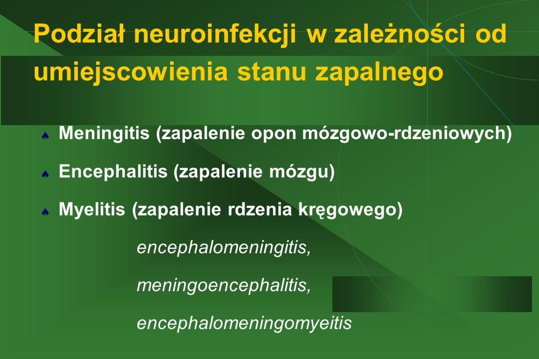 Podział neuroinfekcji w zależności od umiejscowienia stanu zapalnego  Meningitis (zapalenie opon mózgowo-rdzeniowych)  Encephalitis (zapalenie mózgu)  Myelitis (zapalenie rdzenia kręgowego) encephalomeningitis, meningoencephalitis, encephalomeningomyeitis